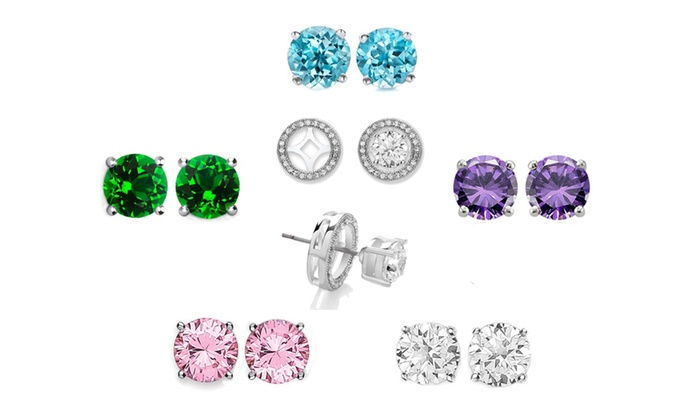 Set Of 5 Swarovski Crystal Interchangeable Halo Stud Earrings By Mina Bloom