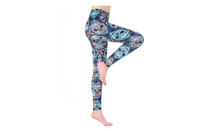 fbad8fd08a461 Unique Stretchy Leggings with Skull and Paisley Print Yoga Pants ...