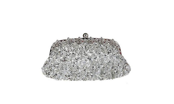 Artone Women's Sequins Rhinestones Frame Evening Bag - Silver / one size