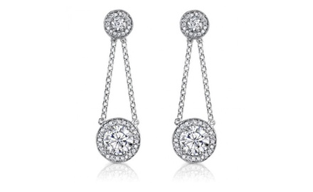 2.50 ct Ladies Round Cut Diamond Drop Earrings