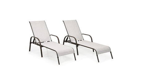 Costway 2PCS Patio Lounge Chair Chaise Adjustable Reclining Armrest Grey