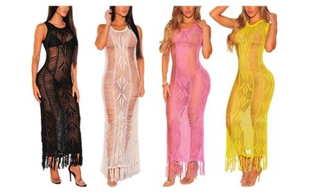 Women's Sexy Hollow Out Knitted Crochet Bikini Cover Up Maxi Dress c1397459-a45e-4895-abb2-b5cbf0cff4c3