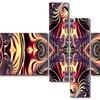 Brassy Flow - Contemporary Canvas Art - 63x32 - 4 Panels