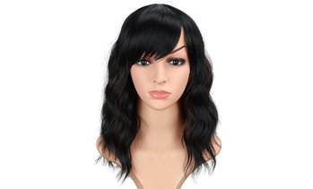 Fashion Short wavy wigs for Curly Hair Wigs With Bangs None Lace