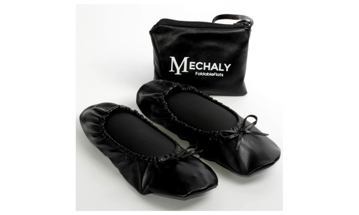 Mechaly Women's Vegan Leather Foldable Flats