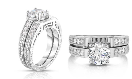 Sterling Silver 2 Piece Engraved Bridal Ring and Band Set By Mina Bloom