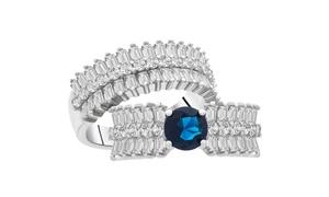 6.44 CTTW Brilliant Emerald Cut Genuine Gemstone 2 piece Rings