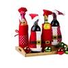 Santa & Little Helpers Christmas Wine Bottle Cover Decoration Set of 4