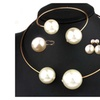 Imitation Pearl Rhinestone Necklace Bangle Women's Earrings Ring Set