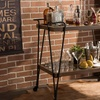 Rooney Rustic Industrial-Style Wheeled Wine Cart