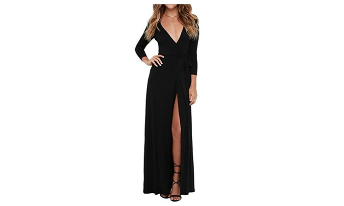 Clothink Women Black Wrap Front V neck Long Sleeve Split Maxi Long Dress