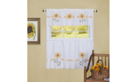 Sun Blossoms Embellished Tier and Valance Window Curtain Set - 56x24 - Multi 6caa7dea-0f1c-442c-bf81-8a84f3530eed