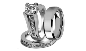 His & Hers Stainless Steel Princess Cut Wedding Ring Set & Men's Band