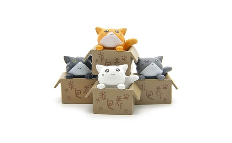 4Pcs /Lot Kids Christmas Toys Cartoon Cat Seek nurturing Anime Figure Model DIY Toys 969b5e1a-cd02-4cb0-b15c-d1eeb4337c30