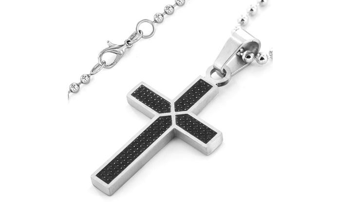 Men's Stainless Steel Black Carbon Fiber Cross Necklace   Groupon