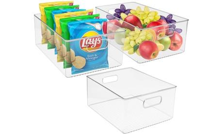 Sorbus Clear Plastic Storage Bin Container Set Kitchen Fridge & Pantry Organizer