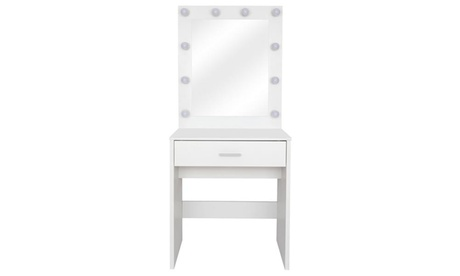 Modern Makeup Dressing Table Large Lighted Vanity Mirror White