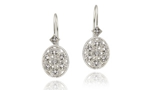 Diamond Accented Filigree Oval Leverback Earrings in Sterling Silver