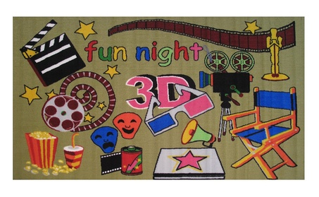 "Popcorn Movie 3-D Glasses Drama Movie Set Kids Area Rug Pad 39"" x 58"" ce6b4250-c1cb-4089-91bd-c964f5608995"