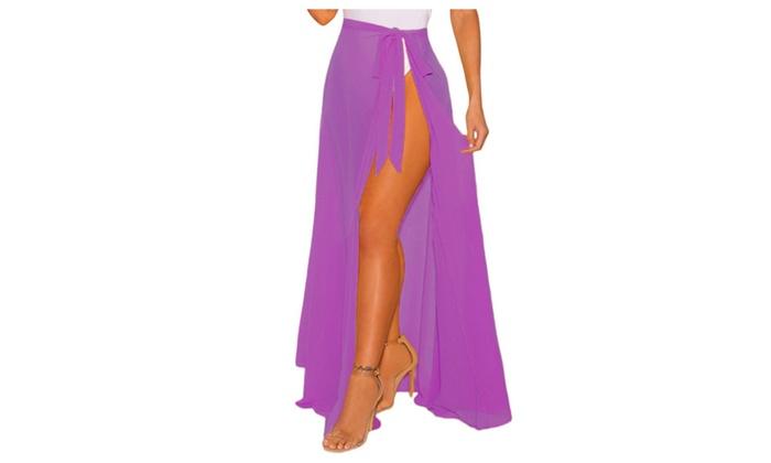 6ad520b9d3 Women's White Sheer Wrap Maxi Beach Skirt | Groupon