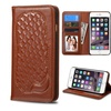 Insten Genuine leather card photo slot For iPhone 6 Plus 6s Plus Brown