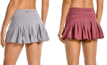 Women's Athletic Tennis Golf Skirts Mid-Waisted Pleated Shorts With Pocket