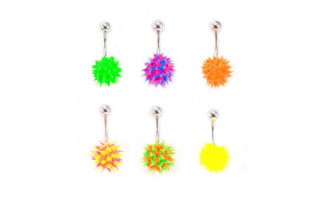 Belly Button Ring Navel Piercing with Spike Silicone Ball- Pack of 6 7d13ea22-66ce-432f-b7df-91e08b8a8820