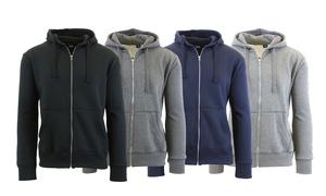 Men's Fleece Zip Hoodie with Thermal-Lined Hood