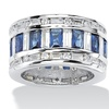 16.32 TCW CZ Blue Glass Accent Silvertone Ring