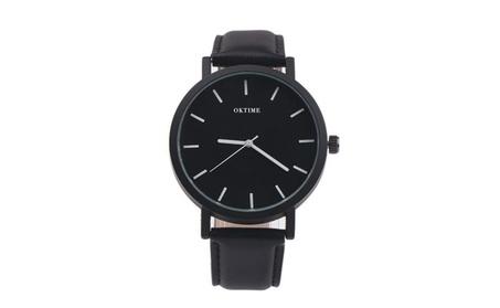 Alloy Steel Dial Leather Strap Analog Quartz Wrist Watch for Man cc9d6993-a651-4bc9-8f19-22b7b029e726