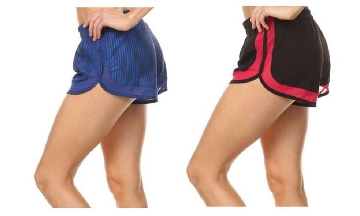2 Pack Women's Running Shorts With Mesh Detail