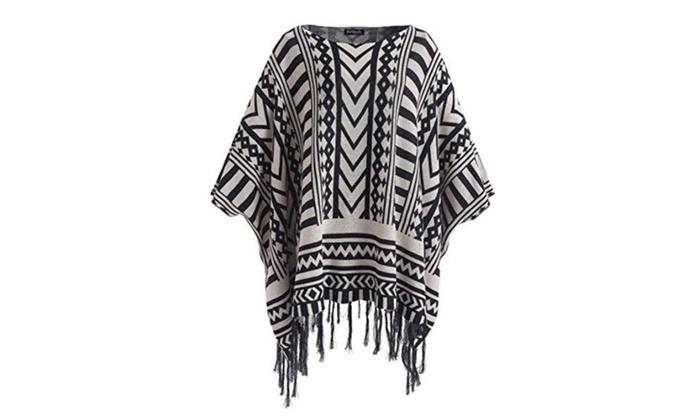 Women's Aztec Stripes Tribal Geometric Tassels Pullover Sweater – Black / Large