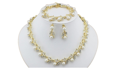 Classic Imitation Pearl Gold-Color Necklace Women's jewelry Set 44a10f44-3ab1-4be7-b029-3872739ade88
