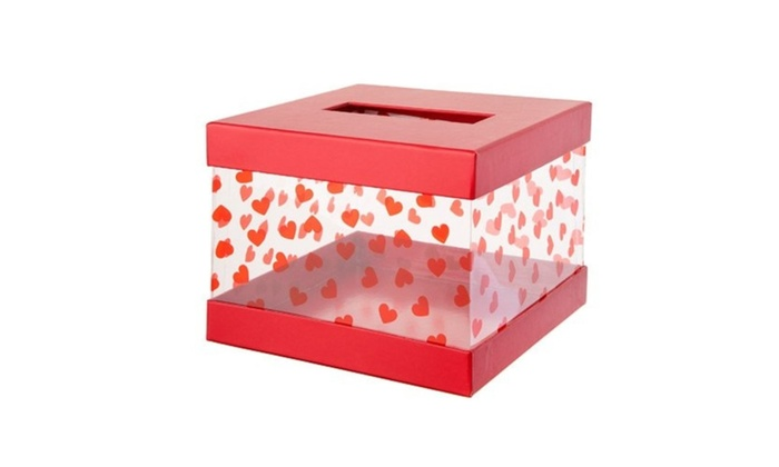 Valentine S Day Card Mailbox For Classroom Exchange Red Clear Box