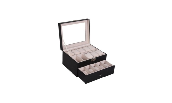 20 Slot Watch Box Leather Improvement Case Organize Top Glass Jewelry
