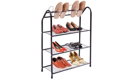 4 Tire Metal Shoe Tower Shelf Storage Rack Cabinet Dorm Home