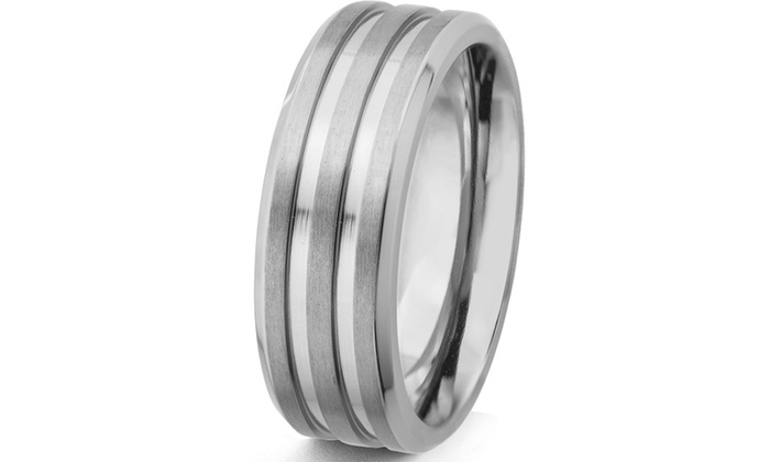 Groupon Goods: Men's Titanium Satin Finish and Polished Grooved Ring (8 mm)