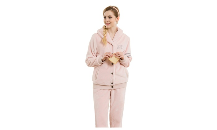 5a413980fb8c Women s Shawl Collar Thick Winter Pajamas Fleece Sleepwear Sets ...