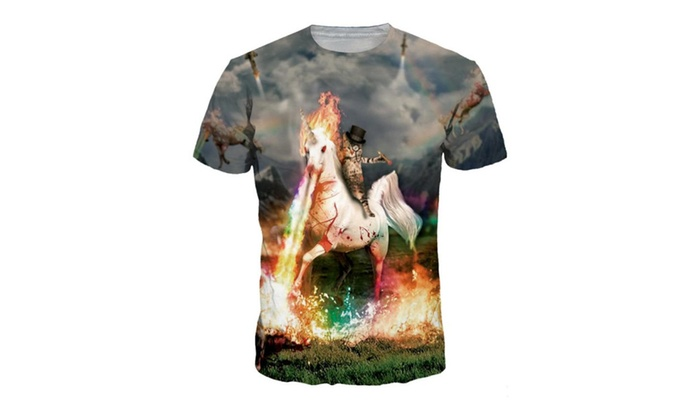 Cat Knight Digital Print T-shirt Round Neck Men Shirt NA 266-4