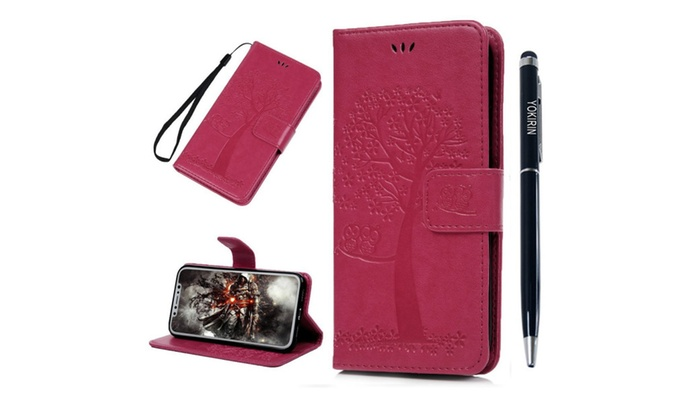 online store f9e47 a596d iPhone X Wallet Case, YOKIRIN Tree Cute Owl Embossed PU Leather TPU ...
