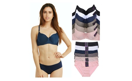 Uni Style Apparel Womens Plain Full Cup Bra and Bikini Panty Set -12 afc74c32-a39e-4605-9491-5bd8bb8dc5a4
