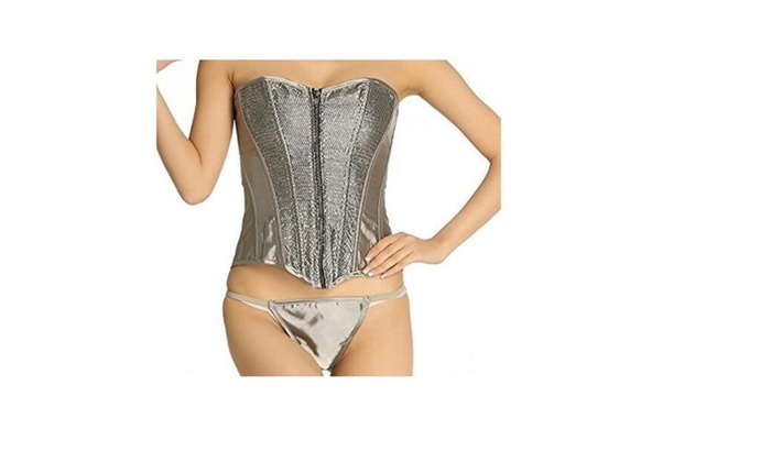 Women's Boned Corset Bustier Corselet with G-string