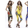 Women Africa Pattern Print Vintage Summer Sexy Tank Top Cropped Pants 2 Pieces S