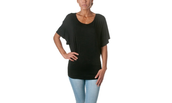 Riverberry Womens Solid Dolman Top B342SD-1