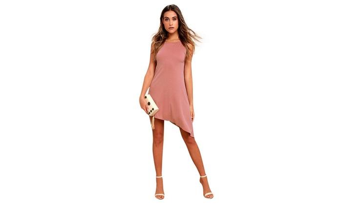 Womens Side Slit Skinny Sleeveless Irregular Bodycon Dress