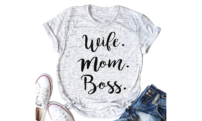 f3de53682e7f2 Women Wife Mom Boss T Shirt Women Funny Short Sleeve Top