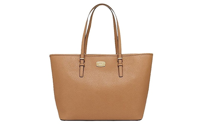 32519c10b246 Michael Kors Jet Set Travel Acorn Large Carryall Tote Acorn | Groupon