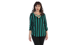 Women's Plus Size Striped Blouse top