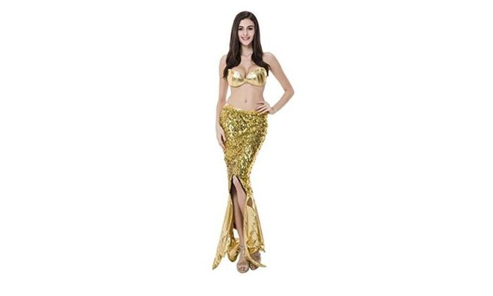 Women's Halloween Cosplay Mermaid Costume Sexy Gold Mermaid Dress