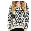 Aztec Print Tribal Pullover Loose Knit Top Sweater